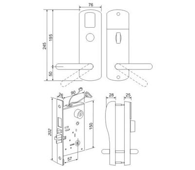 Электромеханический замок для двери с питанием от батареек Z-8 EHT
